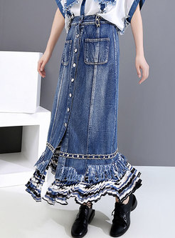 High Waisted Denim Fringed Long Skirt