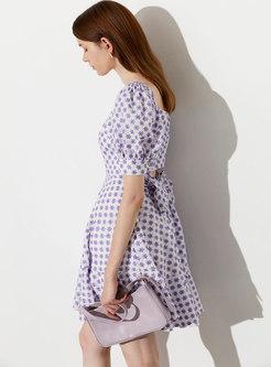 Purple Puff Sleeve Embroidered Mini Skater Dress