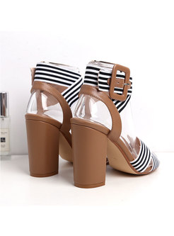Round Toe Striped Buckle Chunky Heel Sandals