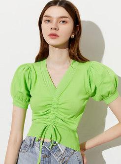 Puff Sleeve Pullover Slim Drawstring T-shirt