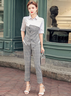 Color-blocked Plaid Patchwork Pant Suits