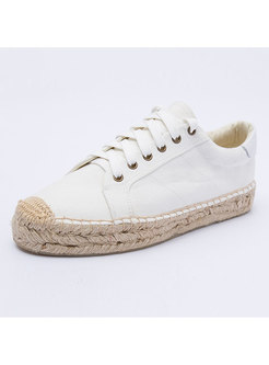 Round Toe Lace Up White Flats