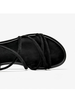 Round Toe Buckle Flat Roman Sandals