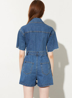 Notched High Waisted Denim Wide Leg Rompers