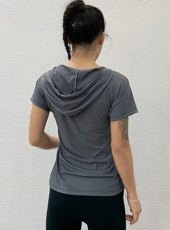 Hooded Short Sleeve Slim Sport Top