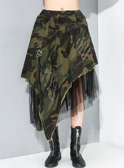 Camouflage Denim Mesh High-low A Line Skirt