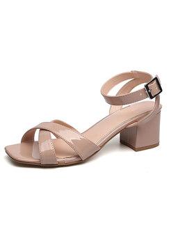 Square Toe Cross Buckle Chunky Heel Sandals