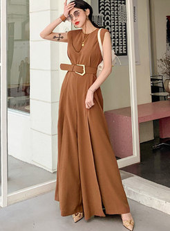 Crew Neck Sleeveless Belted Palazzo Jumpsuits