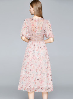Pink V-neck Flare Sleeve Lace Patchwork Floral Dress