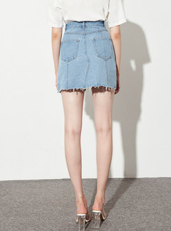 High Waisted Asymmetric Denim Mini Skirt