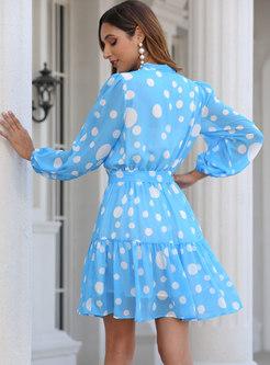 Bowknot Polka Dot Long Sleeve A Line Dress