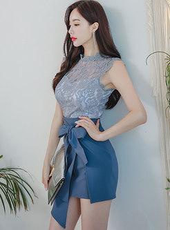Lace Openwork Slim Top & Sheath Mini Skirt