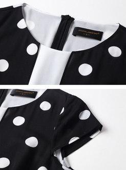 Black Polka Dot Patchwork Chiffon Skater Dress