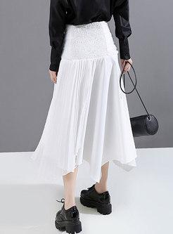 High Waisted Big Hem Long Pleated Skirt