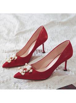 Red Pointed Toe Beaded Wedding Heels