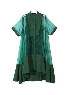 Transparent Mesh Loose Shirt Two Piece Dress