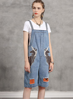 Embroidered Knee-length Palazzo Denim Overalls