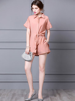 Lapel Short Sleeve Loose Blouse & Wide Leg Shorts