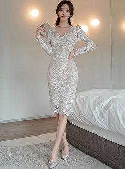Long Sleeve Openwork Lace Sexy Sheath Dress