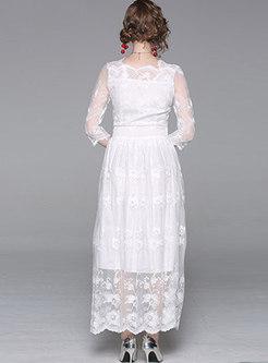 White Mesh Lace Transparent Party Maxi Dress