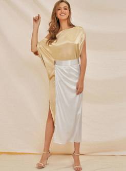 Cold Shoulder Asymmetric Slit Skirt Suits