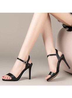 Summer Solid Color Buckle High Heel Sandals
