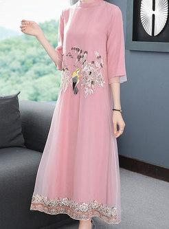 Mandarin Collar Embroidered Mesh Shift Dress