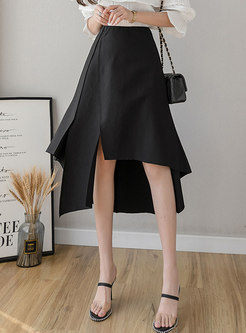 Pure Color High Waisted Slit Asymmetric Skirt