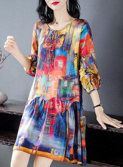 Crew Neck Print Loose Silk Shift Mini Dress