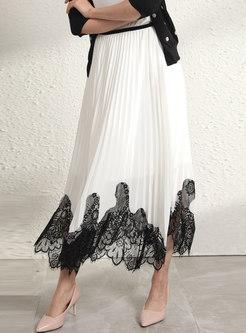 Color-blocked Lace Patchwork A Line Long Skirt