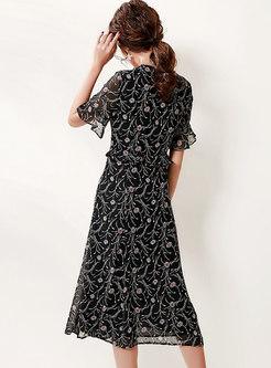 V-neck Flare Sleeve Ruffle A Line Midi Dress