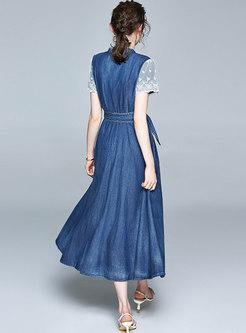 Mock Neck Lace Patchwork Belted Denim Maxi Dress