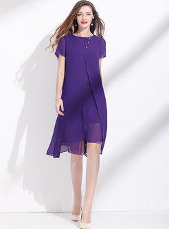 Purple Crew Neck Patchwork Slit Shift Dress