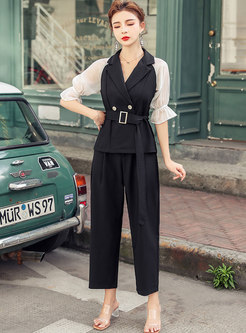 Color-blocked Patchwork Half Sleeve Pant Suits