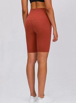 High Waisted Tight Knee-length Sport Shorts