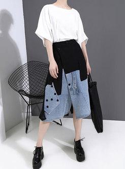 High Waisted Denim Patchwork Asymmetric Skirt