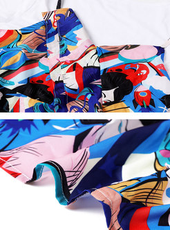 Crew Neck Pullover T-shirt & Print A Line Slip Dress