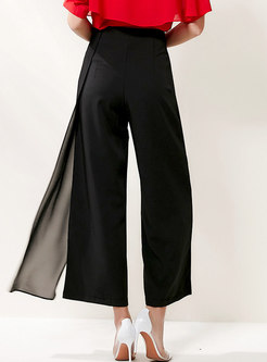 High Waisted Mesh Patchwork Wide Leg Pants