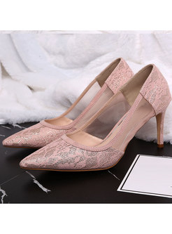Pink Pointed Toe Mesh Patchwork Party Heels