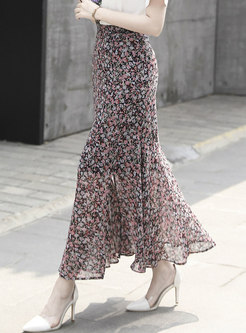 Print High Waisted Slit Peplum Long Skirt