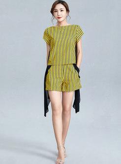 Color-blocked Stripe Patchwork Wide Leg Pants Suits