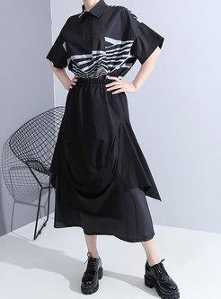 Black High Waisted A Line Long Skirt