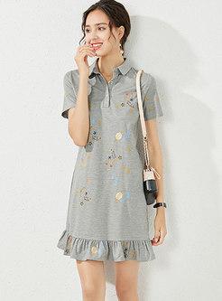 Turn Down Collar Embroidered Ruffle Shift Dress