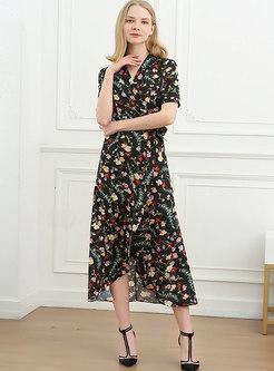 Black Floral V-neck A Line Midi Wrap Dress