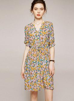 Short Sleeve Floral Silk Knee-length Skater Dress