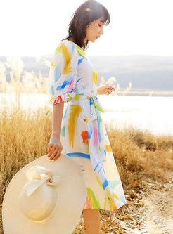 Puff Sleeve Print A Line Knee-length Dress