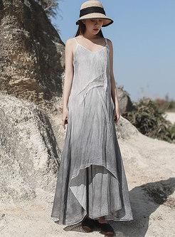 Sleeveless Loose Linen Big Hem Shift Sun Dress
