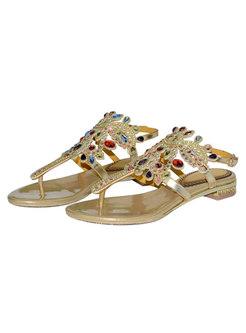 Bohemian Gold Round Toe Diamond Flat Sandals