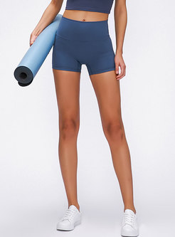 High Waisted Pure Color Tight Sport Shorts