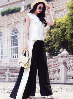 V-neck Sleeveless Color-blocked Wide Leg Pant Suits